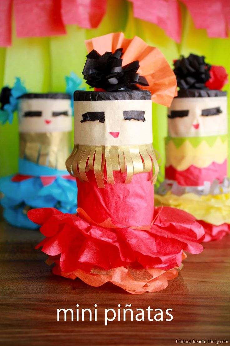 Mini Pinatas from Toilet Paper Tubes for Cinco de Mayo - Remember for next year!