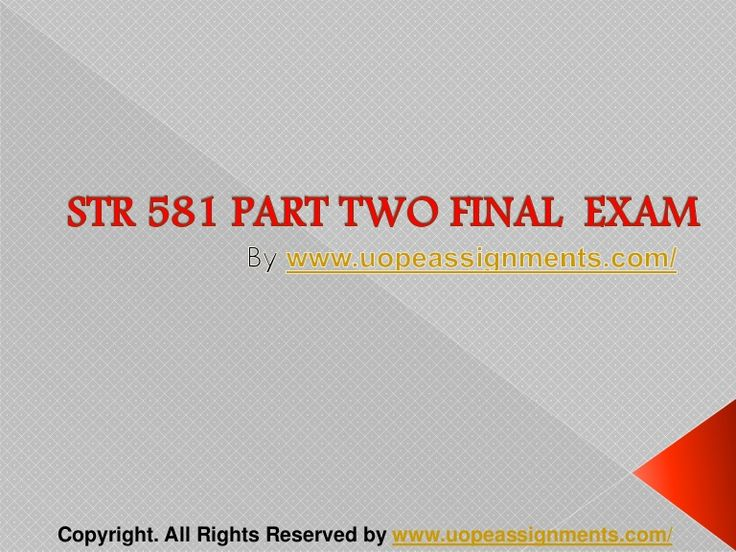 Want to be a straight 'A' student? Join us and experience it by yourself. http://www.UopeAssignments.com/ provide STR 581 Capstone TWO and Entire Course question with answers. LAW, Finance, Economics and Accounting Homework Help, University of Phoenix Final Exam Study Guide, UOP Homework Help etc. Complete A grade tutorials.