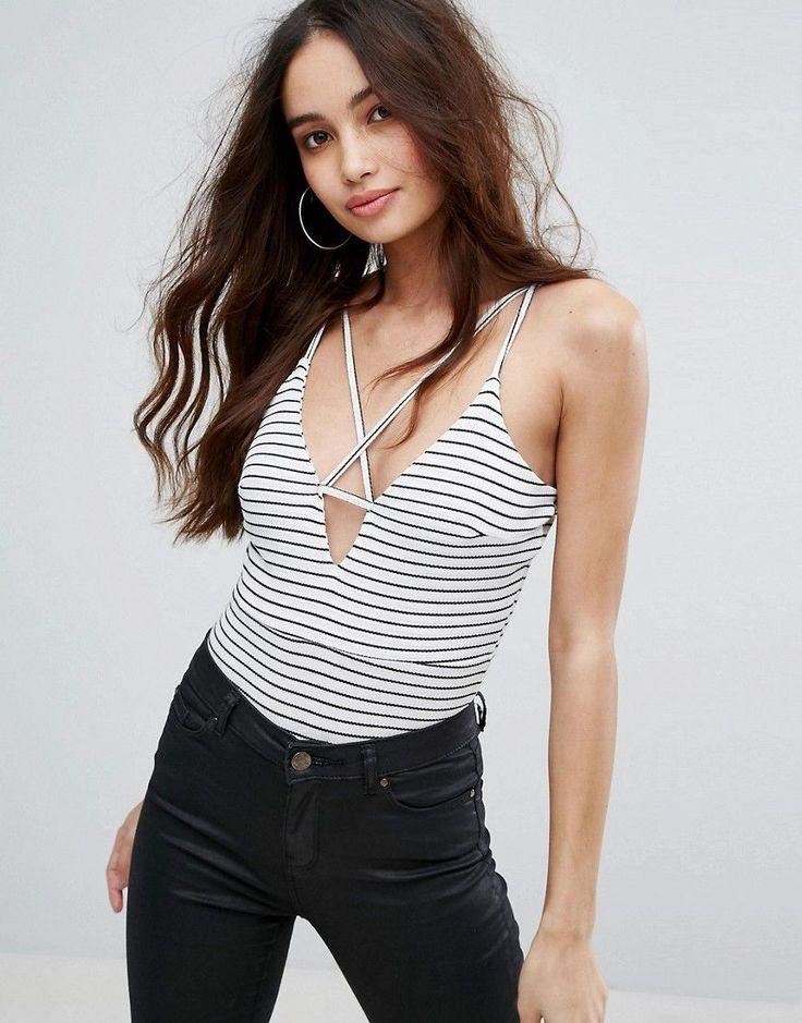 Boohoo Strappy Stripe Body - Multi