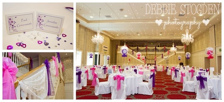 Gisborough Hall Wedding - function room in pink and purple