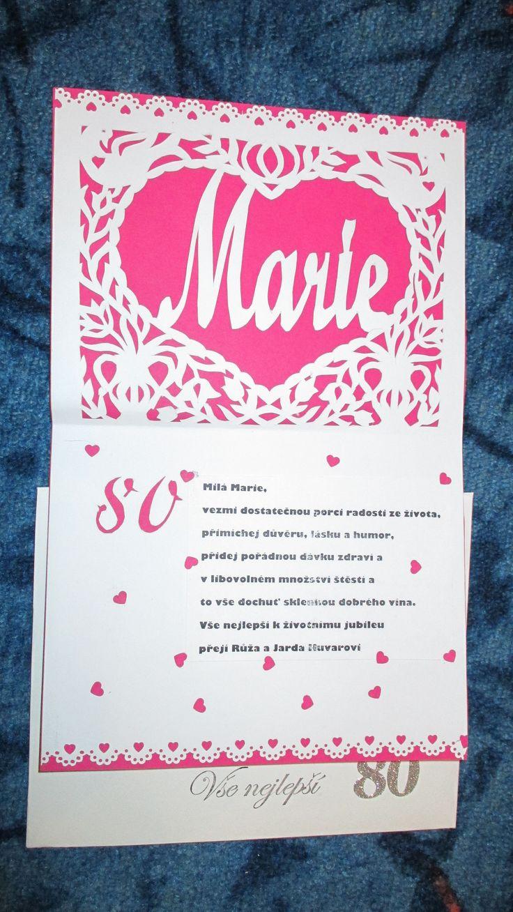 přání pro Marii k osmdesátinám  s obálkou