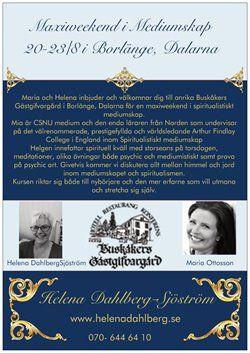 Maxiweekend i Spiritualistiskt Mediumskap i Borlänge 20-23 aug.