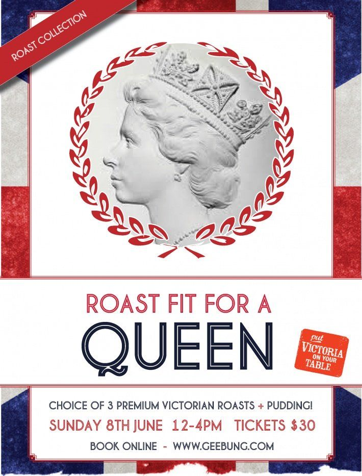 We're celebrating the Queen's Birthday by hosting an English feast; a roast fit for a queen! Come along to the Geebung Polo Club and enjoy a choice of three premium Victorian roasts accompanied by all the traditional English trimmings - think mouth-watering roast potatoes, sumptuous gravy and crispy Yorkshire puddings. All followed by a delicious pudding that's sure to satisfy even the sweetest tooth. To book tickets visit http://www.trybooking.com/EZHS