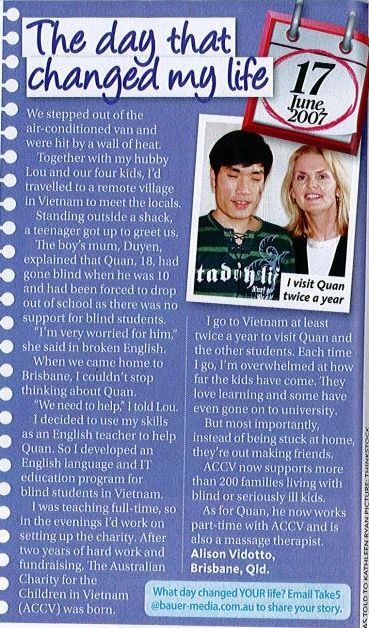 """Alison and Quan's story in  Take 5 Magazine, """"The Day That Changed My Life."""""""