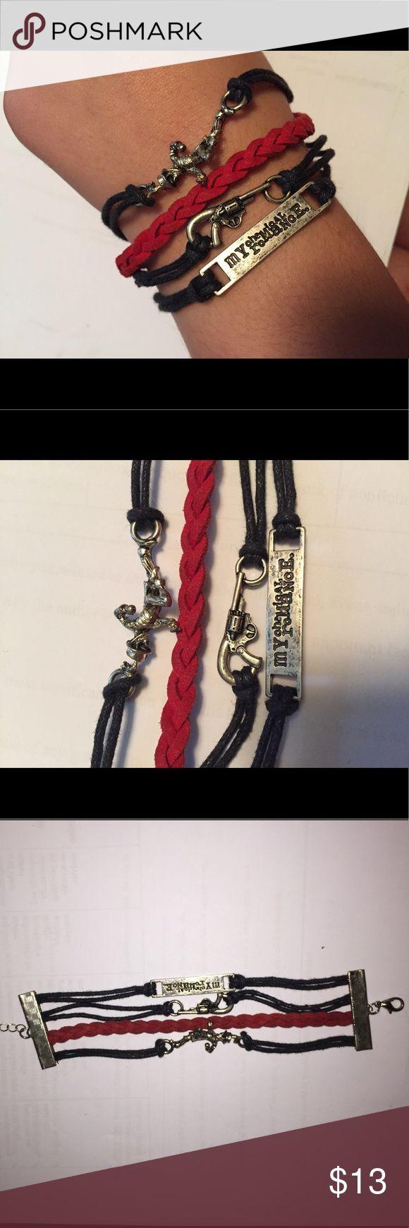 My Chemical Romance Bracelet(s) NWOT Bracelet with black and red layers and My Chemical Romance logos Hot Topic Jewelry Bracelets