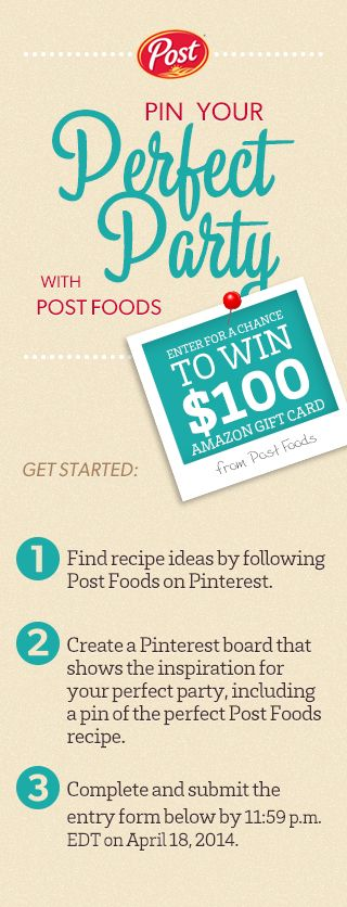 Follow these simple instructions and Pin Your Perfect party to enter for a chance to #win a $100 Amazon Gift Card!