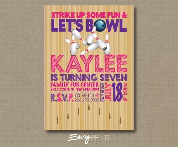 25+ ide terbaik Bowling birthday invitations di Pinterest Bowling - bowling invitation