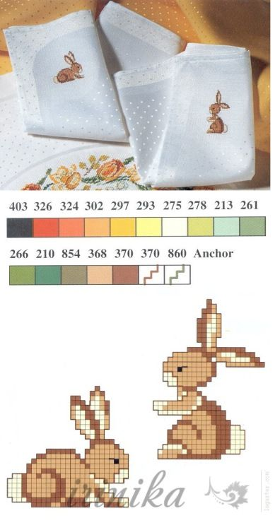 Bunny Monograms, cross stitch pattern + colours