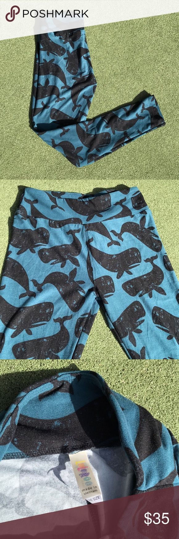LuLaRoe One Size Whale Leggings LuLaRoe One Size Whale Leggings.  Brand new, never worn, LuLaRoe does not attach tags to most leggings.  Super soft and very stretchy. Smoke free home. Is this your Unicorn, Arrow, Elephant, Disney Roses, Paisley, Tiger, Dinosaur or Owl Print? I provide same or next day shipping, depending on time of purchase. These are some of the most adorable LuLaRoe Leggings I have ever seen. Not sure I want to sell so make your offer good.  Would look great with…