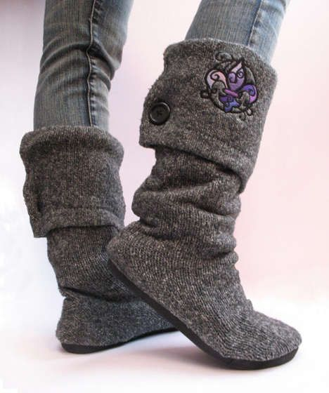 Up-cycled sweater boots. Go pick up a sweater from the thrift store, and follow these steps to make boots!