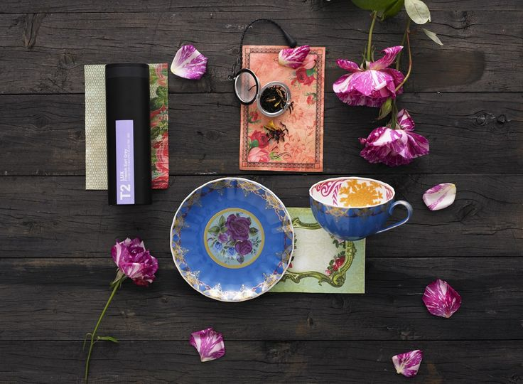Rose Garden - T2 Turkish Delight cup and saucer, T2 Lux French Earl Grey 80g, T2 mesh ball infuser