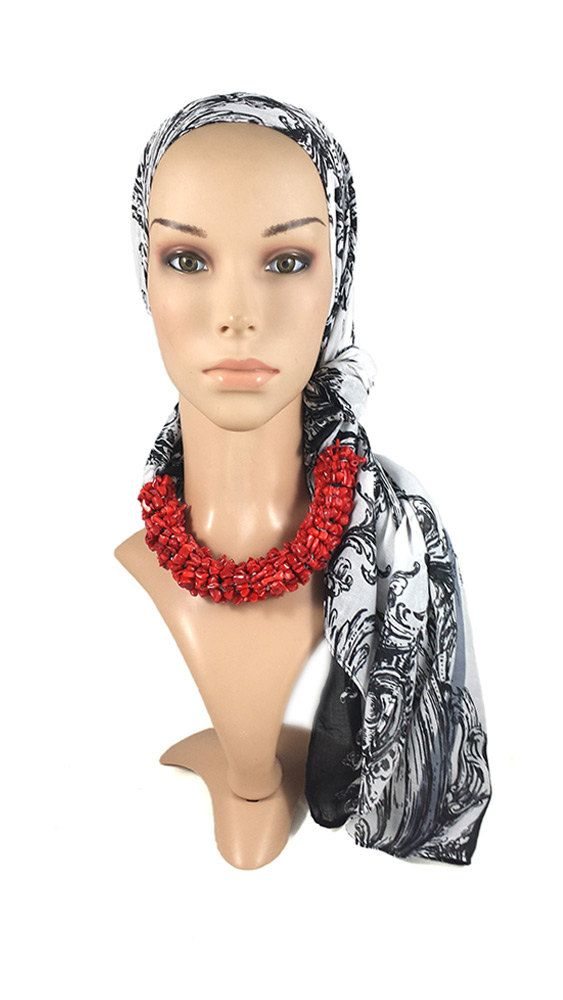 Black And White Print Scarf With Red Coral Gemstones