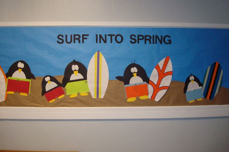 surfing penguin bulletin board | an egg. while surfing the Internet. I love creating the bulletin board ...