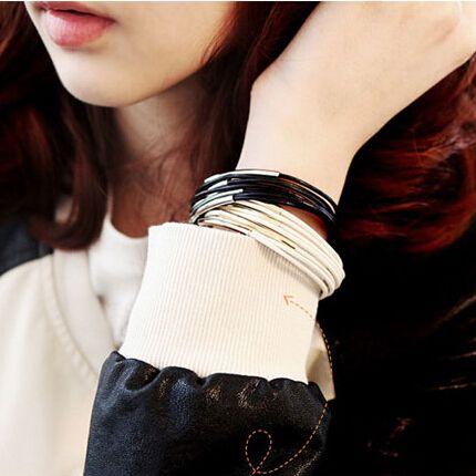 Металл золото изгиб многослойные браслеты пр веревка браслеты для женщины