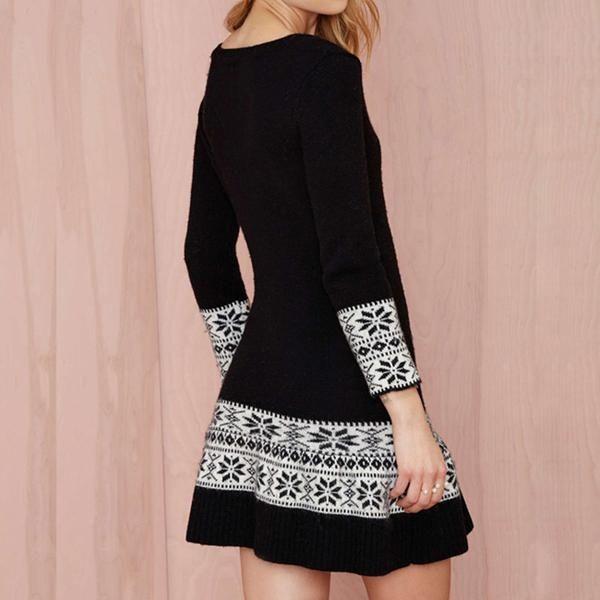$59.99 Vestido para mujer corto y de mangas largas con patrón abstracto. Ideal para lucir un aspecto conservador y seductor. Envío gratis. Compra en daliz.store