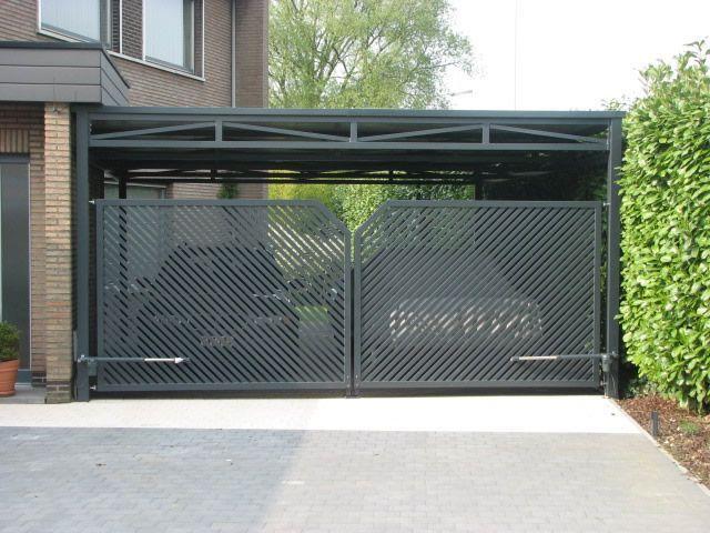 Carports slidding doir two story stone carage carports for Carport gate ideas