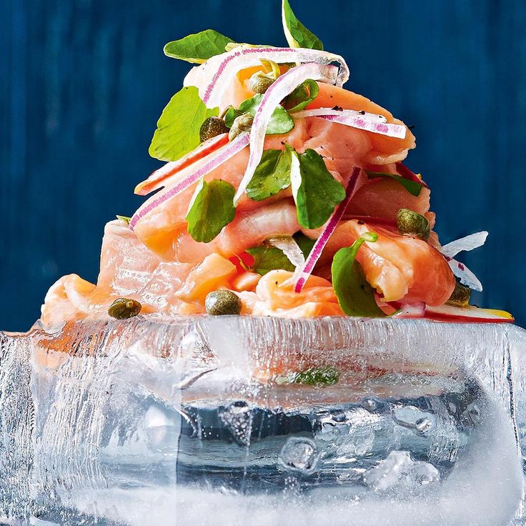 Salmon Ceviche with Radish & Capers  Top tip from Fresh Magazine: Freeze containers of water until solid and turn out to use as serving plates