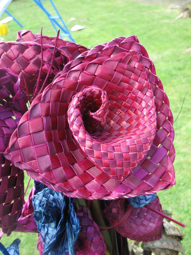 Gorgeous large split weave magenta flax woven flower- creation of Forever Flax