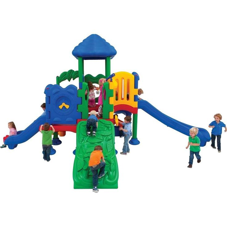 Ultra Play Discovery Center Commercial Playground 5 Deck with Roof Anchor Bolt Mounting, Multi