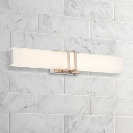 Possini euro exeter 24 wide led nickel bathroom light for Bathroom designs exeter