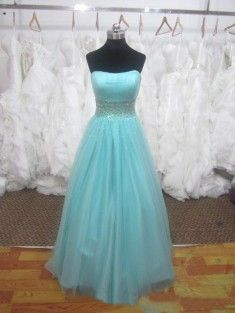 Ball Gown Strapless Sleeveless Floor-Length Tulle Prom Dress/Evening Dress With Beading