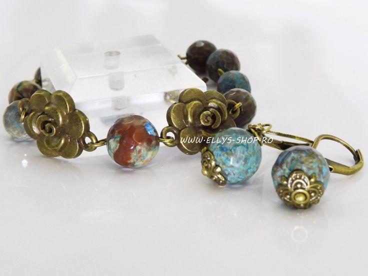 Set vintage bijuterii handmade compus din cercei si bratara Pentru acest set am folosit pietre semipretioase calsilica de 10 si 8mm si accesorii