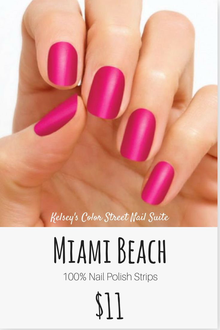 Color Street Miami Beach. Bright pink nail polish. Apply dry for a fast and easy manicure. Click for purchase options.