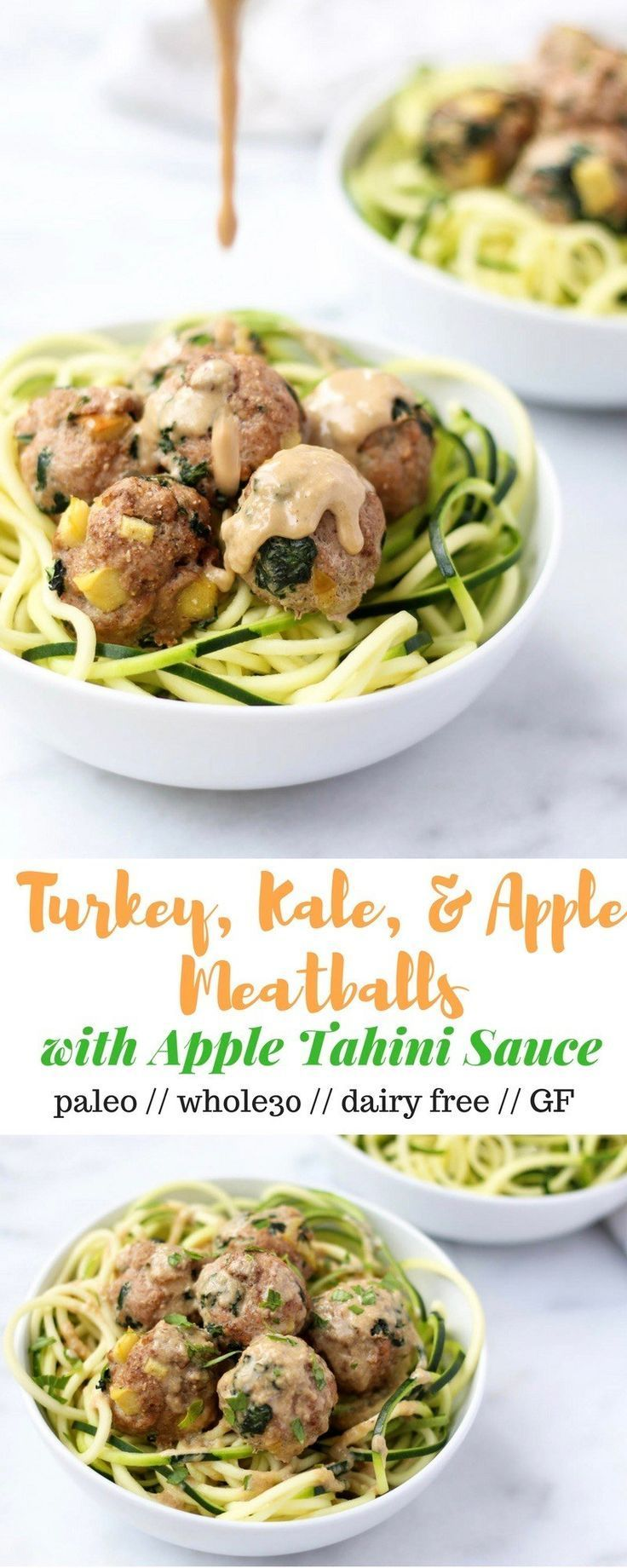 Protein, veggies, and fruit packed, theseTurkey, Kale, & Apple Meatballs come together in less than 30 minutes and are paleo, gluten free, and Whole30 compliant! - Eat the Gains