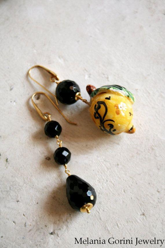 Beautiful vermeil earrings with authentic handmade ceramic of Caltagirone…