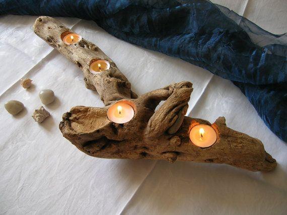 legni di mare, pietra, arredo, interior design, driftwood, candle holder, candleholder, tea light, shabby chic,centerpiece, Portacandele, centrotavola