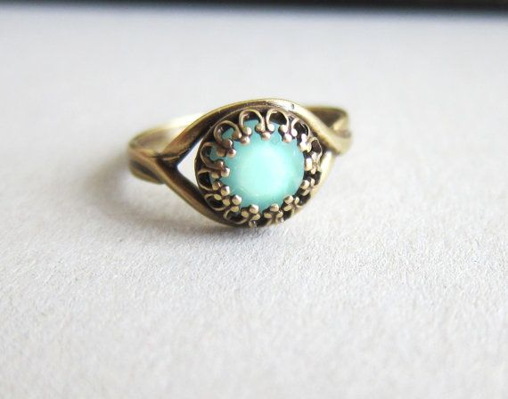 Mint Ring Exotic Boho Blue Mint Green Ring Pale Light Aqua Turquoise Teal Great Gatsby Arabian Princess Indie Chic Ring on Etsy, $20.00