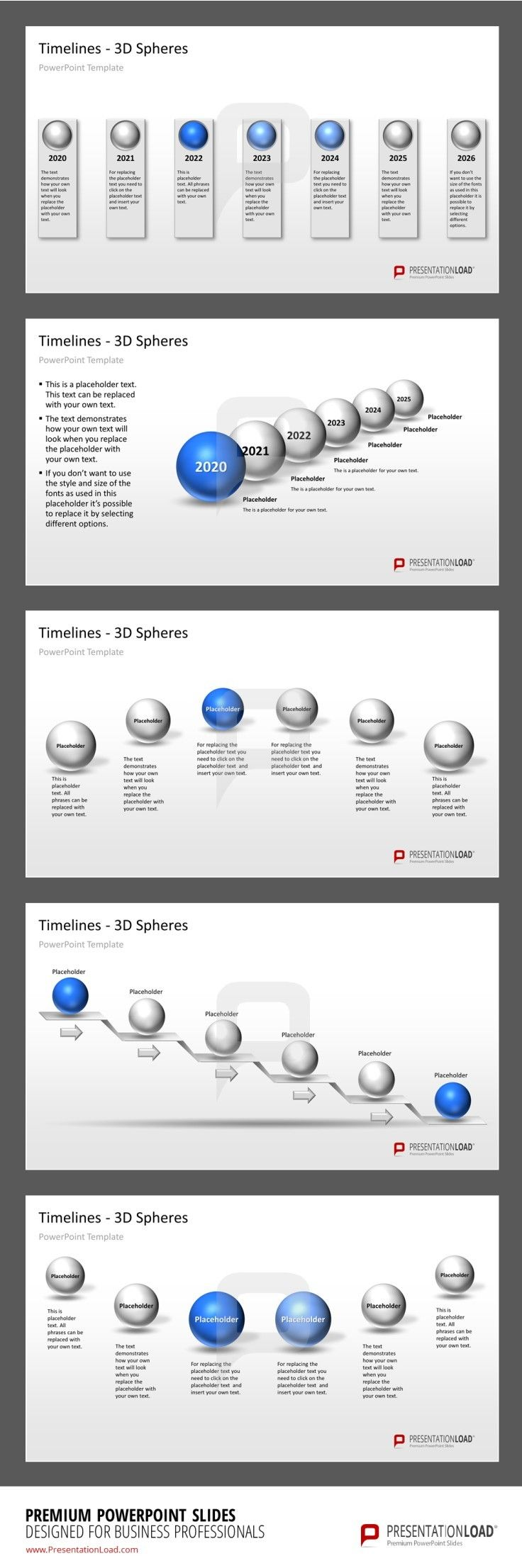 3D Spheres Timeline PPT Template Example #presentationload www.presentationload.com/3d-timelines-spheres.html