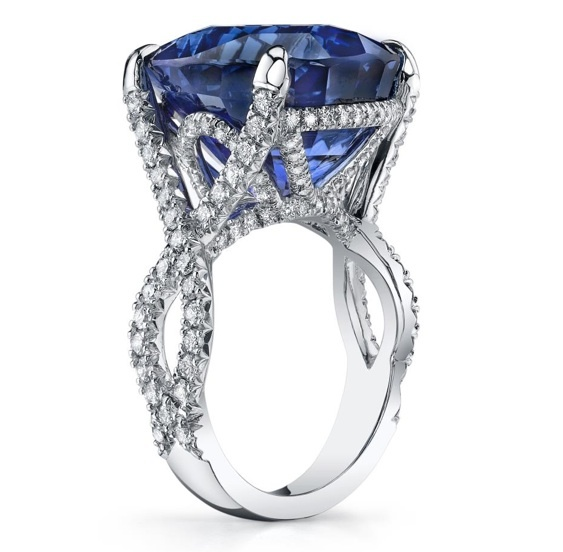 Oval sapphire and diamond twist by Omi Gems