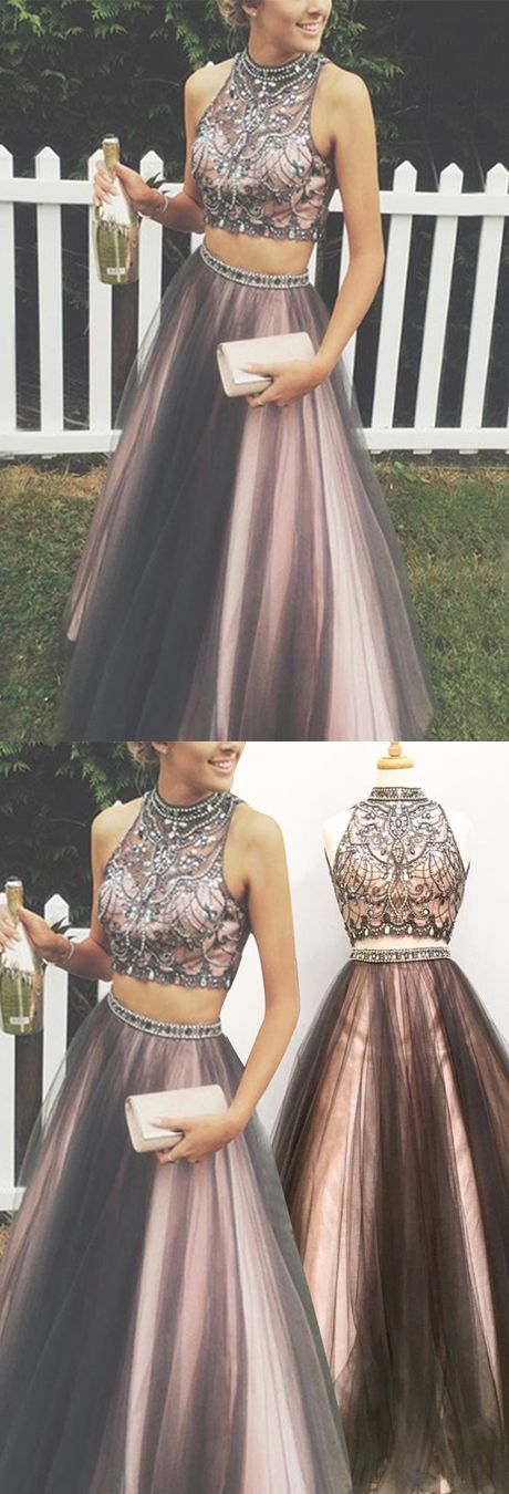 Beautiful Two-Piece Prom Gowns High Neck Floor-Length Rhinestone Prom Dresses with Beading For Teens