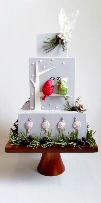Holiday Wedding Birds Cake
