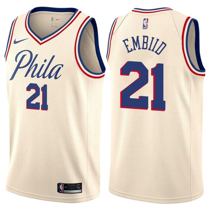 Men's Philadelphia 76ers Joel Embiid Jersey White City Editi