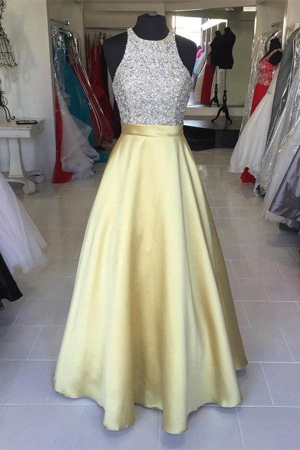 Round Prom Dresses, Yellow Long Prom Dresses, Yellow Satin Long Halter Beading Simple Cheap Prom Dresses WF01G41-490 | Prom dresses yellow, Satin prom dress, Prom dresses for teens