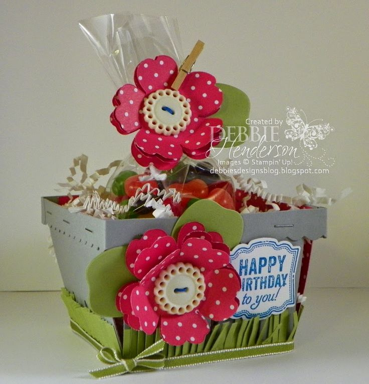 I challenged my Downline team members to a  Stampin' Up! Berry Basket Challenge. This one is mine. Go to my blog to see 10 more baskets! Debbie Henderson, Debbie's Designs.