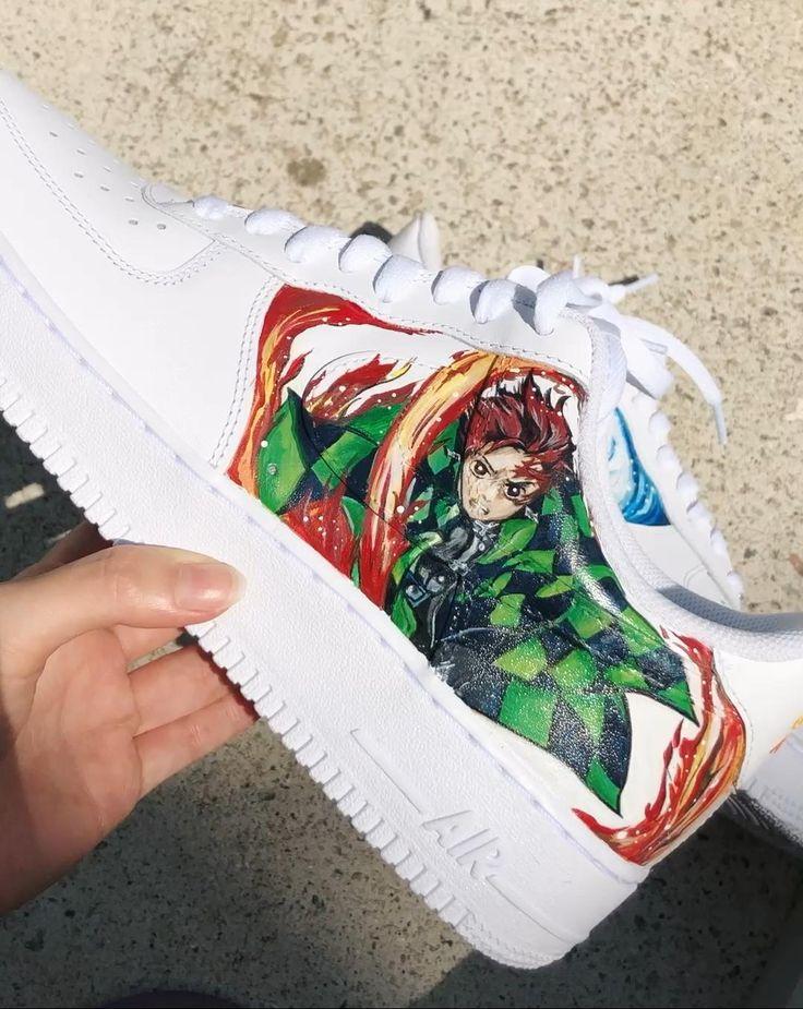 Demon slayer tanjiro custom artwork on nike af1s video