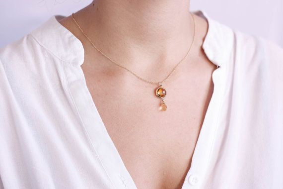 Gemstone Necklace, Birthstone Necklace, Gift for Her, Bridal Necklace, Dainty Gold Chain, 14K Gold, Blue Topaz, Natural Citrine, GN0359