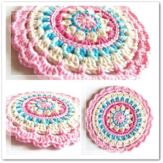 "Crochet Pattern: ""Little Spring Mandala"" circle motif or potholder pattern by Barbara of ""Made in K-town,"" made-in-k-town.blogspot.de (28 May 2012). Please respect the designer's Intellectual Property rights as an artist. If you wish to make these for sale, Get Her Permission First."