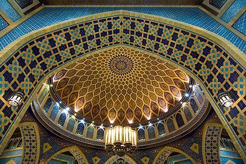 Dubai, Ibn Battuta Shopping Mall, arched ceiling with decorative tiles