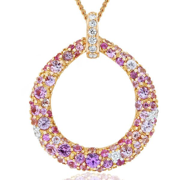 Be spellbound by the dazzling Cirque pink sapphire and diamond pendant. Crafted in 18ct rose gold. Length 34mm. Width 28mm. The 18ct gold chain is adjustable from 42 - 45cm long. Chain included. #GerardMcCabe #PinkSapphire