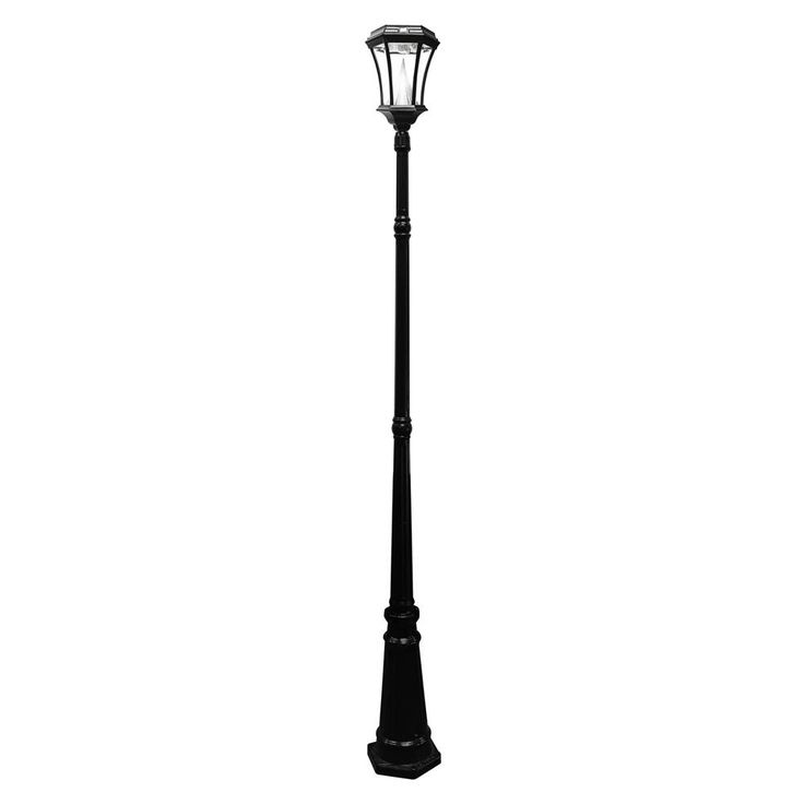 Victorian Solar Black Outdoor Lamp Post