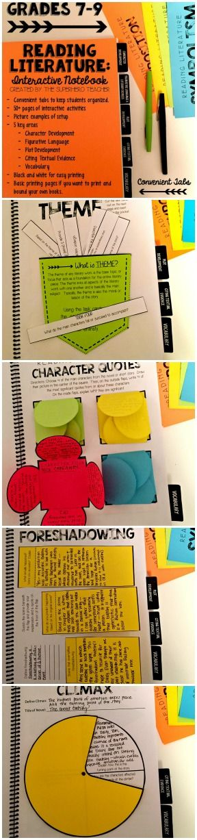 Reading Literature Interactive Notebook for Grades 6-9.  Focuses on: character development, figurative language, plot development, citing textual evidence, and vocabulary.  Perfect for any novel or short story throughout the semester! $