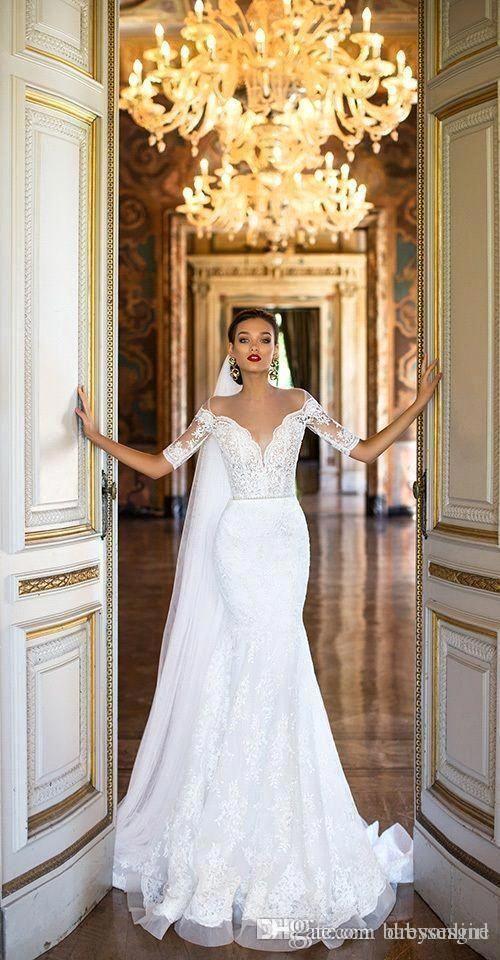 2018 White Mermaid Wedding Dresses Full Lace Long Short Sleeve Sheer Neck Bridal…