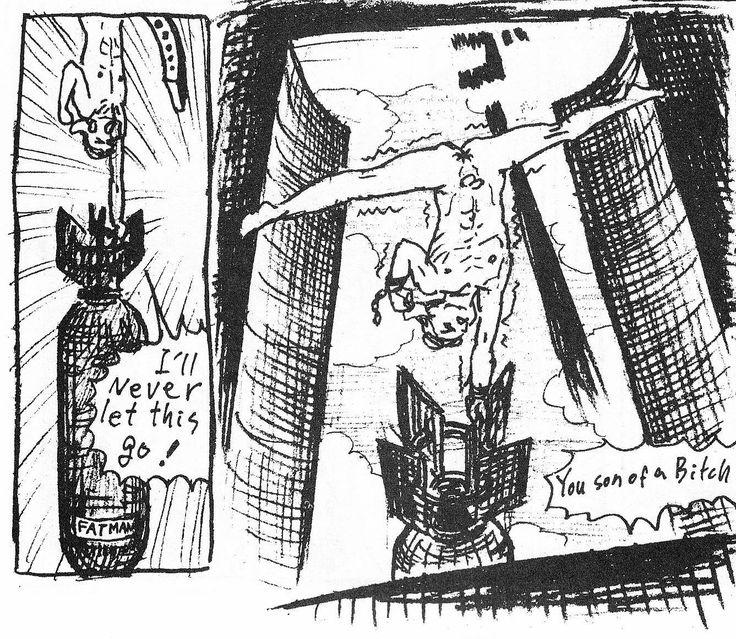"""Japoński superbohater w dramatycznej walce z bombą atomową. Makoto Aida, """"Mutant Hanako"""", 1999, [w:] """"Underground Comics Now. Secret Comics Japan"""", red. Chikao Shiratori, Cadence Books, 2000, s. 139."""