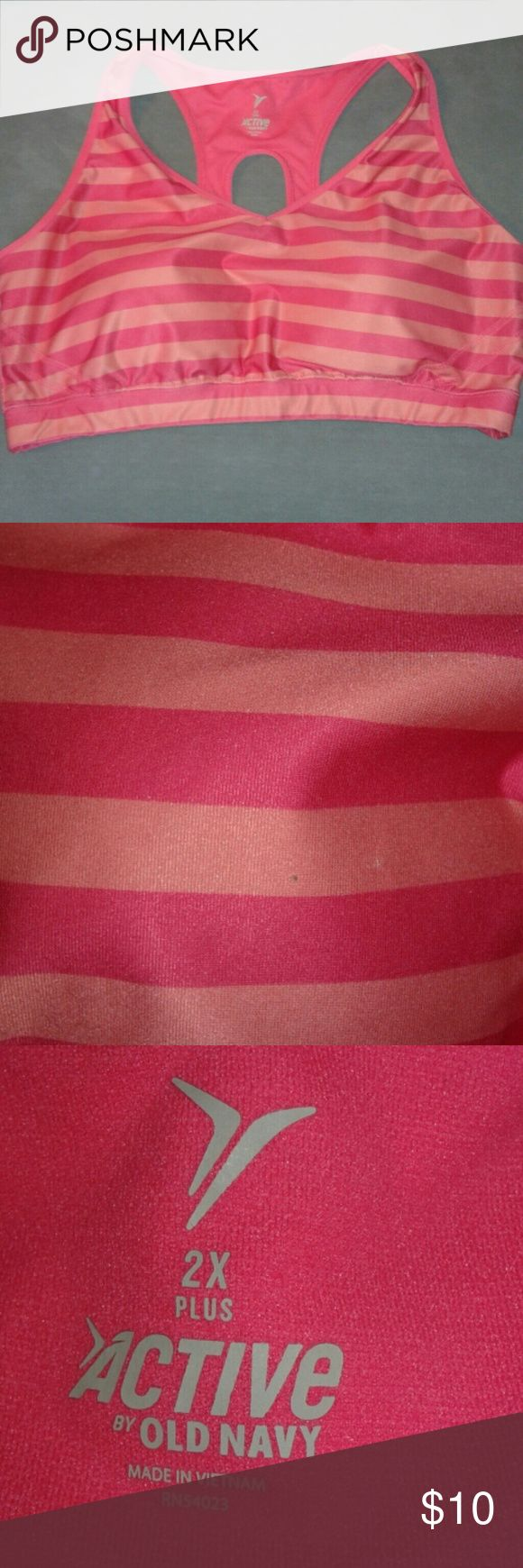 2X Pink Striped Sports Bra 2X pink striped sorts bra from Old Navy. In great condition, written maybe twice! All questions and offers welcome! Old Navy Intimates & Sleepwear Bras