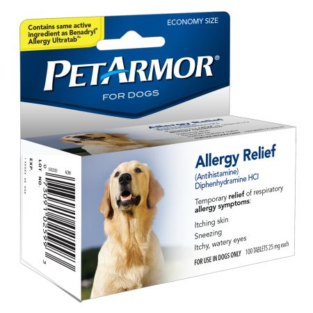 PetArmor Allergy Relief & Antihistamine for Dogs, 100 Tabs