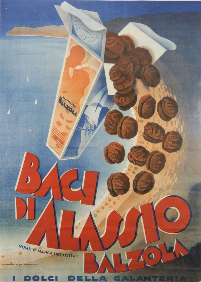 Vintage Italian Posters - Italy. Baci di Alassio.  www.italianways.com/baci-from-alassio-and-dannunzios-gallantry/